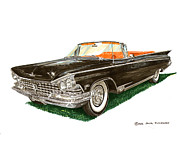 Black Top Painting Posters - 1959 Buick Electra 225 Convertible Poster by Jack Pumphrey