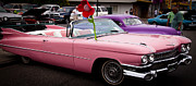 Pink Cadillac Prints - 1959 Cadillac Convertible and the 1950 Mercury Print by David Patterson