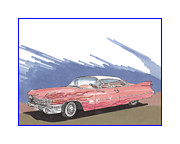 Cadillac Painting Posters - 1959 Cadillac Coupe de Ville Poster by Jack Pumphrey