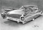 Charcoal Car Posters - 1959 Cadillac drawing Poster by John Harding