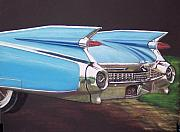 American Car Pastels Framed Prints - 1959 Cadillac Framed Print by Sharon Quarles
