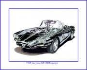 1960 Drawings Posters - 1959 Corvette XP-700 Concept Poster by Jack Pumphrey