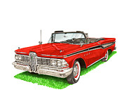 Red Edsel Posters - 1959 Edsel Corsair Convertible Poster by Jack Pumphrey