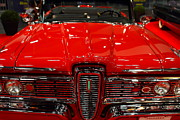 Red Cars Photo Framed Prints - 1959 Edsel Corsair Convertible . Red . 7D9235 Framed Print by Wingsdomain Art and Photography