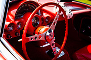 Wheel Art - 1959 Red Chevy Corvette by David Patterson