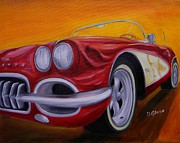 Dean Painting Originals - 1960 Corvette - Red by Dean Glorso