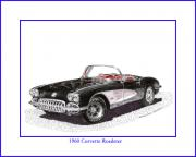 1960 Drawings Posters - 1960 Corvette Convertible Poster by Jack Pumphrey