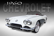 1960 Digital Art Posters - 1960 Corvette Poster by Mike McGlothlen