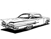 1960 Drawings Posters - 1960 Impala Poster by Jim Porterfield