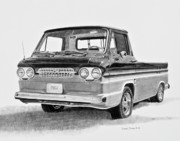 Fine Art Drawing Prints Drawings Originals - 1961 Chevrolet Corvair Rampside by Daniel Storm
