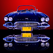 General Motors Posters - 1961 Chevy Corvette Poster by Jim Carrell