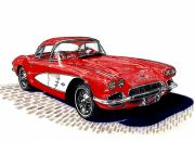 Corvette Drawings - 1961 Corvette Roadster by Jack Pumphrey
