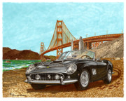 Sports Framed Prints Prints - 1961 Ferrari California Print by Jack Pumphrey