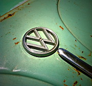 Wing Mirror Photos - 1961 Green VW by Gwyn Newcombe