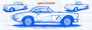 American Muscle Digital Art Prints - 1962 Corvette Blueprint Print by K Scott Teeters