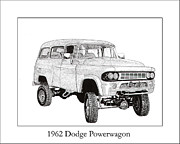 Black And White. Drawings - 1962 Dodge Powerwagon by Jack Pumphrey