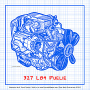 Corvette Engine Blueprints - 1963 - 1965 L84 327 Corvette Fuelie Engine Blueprint by K Scott Teeters