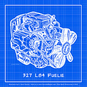 Corvette Engine Blueprints - 1963 - 1965 L84 327 Corvette Fuelie Engine Reverse Blueprint by K Scott Teeters