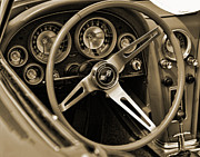 Muscle Car Framed Prints - 1963 Chevrolet Corvette Steering Wheel - Sepia Framed Print by Gordon Dean II