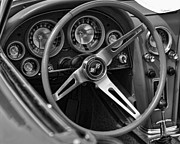 C1 Posters - 1963 Chevy Corvette Steering Wheel and Dash Board Black and White Poster by Gordon Dean II