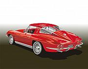 Car Prints Digital Art Posters - 1963 Corvette Poster by Bob Livengood