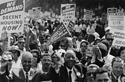 Race Discrimination Framed Prints - 1963 March On Washington. Close-up Framed Print by Everett