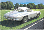 1963 Posters - 1963 Split Window Corvette Poster by Rod Seel