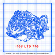 Corvette Engine Blueprints - 1965 L78 396 Big-Block Corvette Engine Blueprint by K Scott Teeters