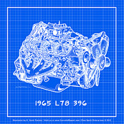 Corvette Engine Blueprints - 1965 L78 396 Big-Block Corvette Engine Reverse Blueprint by K Scott Teeters