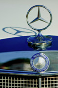 Historic Vehicle Photo Prints - 1965 Mercedes 220 SE Cabriolet Hood Ornament Print by Jill Reger