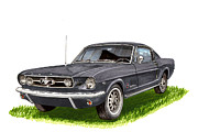 Classic Ford Posters - 1965 Mustang Fastback Poster by Jack Pumphrey