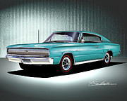 Sports Art Mixed Media Posters - 1966- 1967 DODGE CHARGER Medium Turquoise Poster by Danny Whitfield