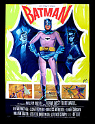 Bat Drawings - 1966 Batman Movie Poster by Paul Van Scott