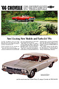 V8 Chevelle Posters - 1966 Chevrolet Chevelle Turbo-Jet V8s Poster by Digital Repro Depot