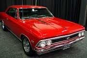 Transportation Glass Framed Prints - 1966 Chevy Chevelle SS 396 . Red . 7D9278 Framed Print by Wingsdomain Art and Photography