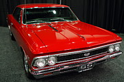 Red Cars Photo Framed Prints - 1966 Chevy Chevelle SS 396 . Red . 7D9280 Framed Print by Wingsdomain Art and Photography