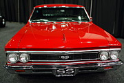 Red Cars Photo Framed Prints - 1966 Chevy Chevelle SS 396 . Red . 7D9282 Framed Print by Wingsdomain Art and Photography