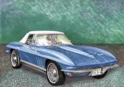 R Drawings Prints - 1966 Corvette Rag-Top S.R. Print by Jack Pumphrey