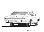 70s Drawings - 1966 Dodge Charger by Jack Pumphrey