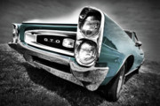 Black And White Digital Art Posters - 1966 Pontiac GTO Poster by Gordon Dean II