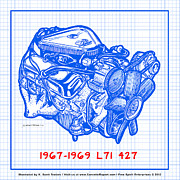 Corvette Engine Blueprints - 1967 - 1969 L71 427-435 Corvette Engine Blueprint by K Scott Teeters