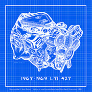 Corvette Engine Blueprints - 1967 - 1969 L71 427-435 Corvette Engine Reverse Blueprint by K Scott Teeters