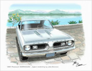 T-bird Posters - 1967 BARRACUDA  classic Plymouth muscle car sketch rendering Poster by John Samsen