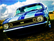 Beach Hop Framed Prints - 1967 Chevrolet Camaro SS Framed Print by Phil 