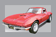 Sides Framed Prints - 1967 Chevrolet Corvette Framed Print by Alain Jamar