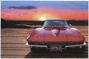 Corvette Paintings - 1967 Corvette by Rod Seel