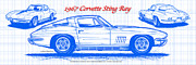 American Muscle Digital Art Prints - 1967 Corvette Sting Ray Coupe Blueprint Print by K Scott Teeters