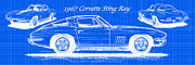 Sports Art Digital Art Posters - 1967 Corvette Sting Ray Coupe Reversed Blueprint Poster by K Scott Teeters