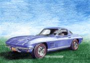 Corvette Drawings - 1967 Corvette Stingray by Jack Pumphrey