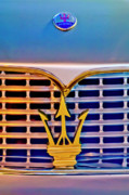 Collector Hood Ornament Posters - 1967 Maserati Sebring Coupe Emblem Poster by Jill Reger